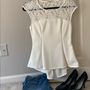 Acemi white peplum top with lace